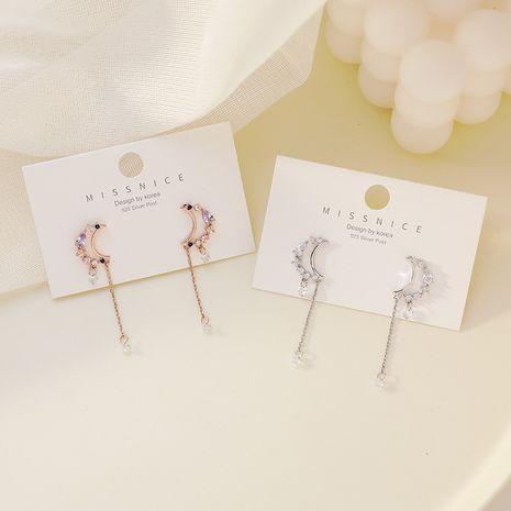 Boucles d'oreilles coréennes en argent 925 avec aiguille zircon lune gland longues nihaojewelry NHMS238688's discount tags