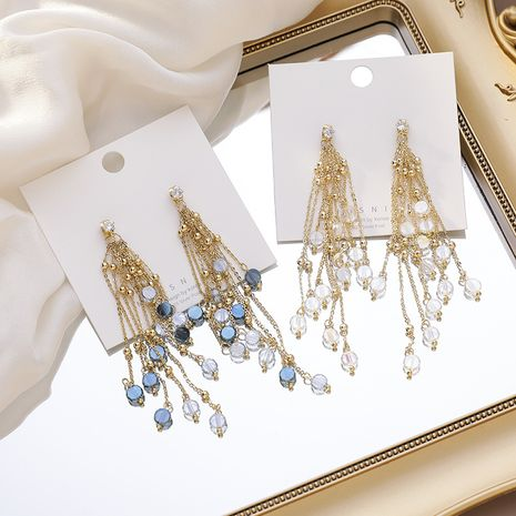 925 argent aiguille à la main couleur cristal perlé chaîne dégradé cristal gland boucles d'oreilles pour les femmes NHMS238691's discount tags