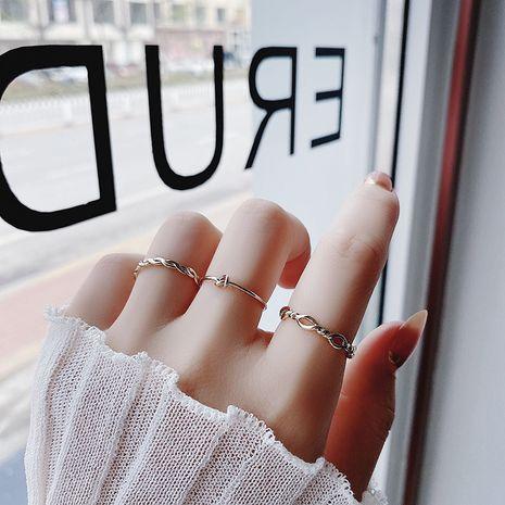 Bague en trois pièces coréenne simple fine torsion ondulée en gros nihaojewelry NHMS238703's discount tags
