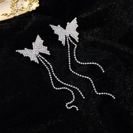 Fashion 925 silver needle butterfly diamond tassel butterfly niche earrings for women nihaojewelry NHMS238707's discount tags