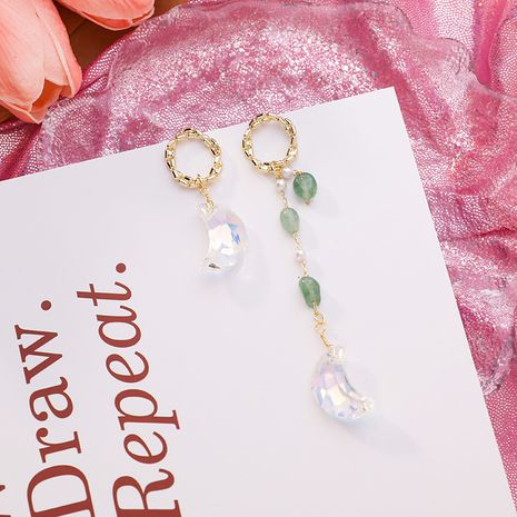Nuevo 925 Silver Needle Irregular colorido Crystal Moon Asymmetric Green Beaded Crystal Earrings NHMS238714's discount tags