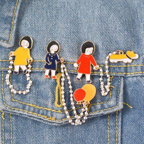 Dibujos animados globo broche aleación esmalte cachorro perla accesorio broche al por mayor nihaojewelry NHBO238723's discount tags