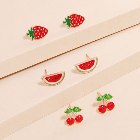 Lovely fruit strawberry watermelon cherry 3-piece Korean fashion new simple and compact combination earrings NHKQ238737's discount tags