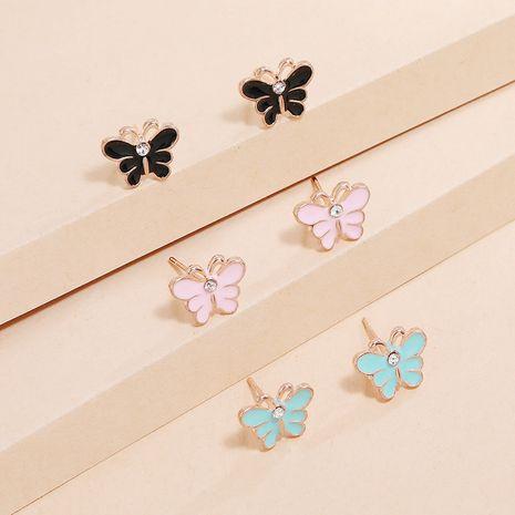 Mode douce et mignonne Corée diamant frais papillon 3 pièces combinaison boucles d'oreilles pour les femmes nihaojewelry NHKQ238738's discount tags