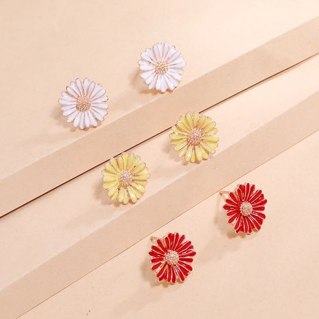 Korean daisy fresh 3-piece simple trend small and versatile drip set earrings for women NHKQ238739's discount tags