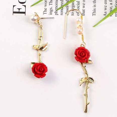 Retro rose flower pearl fashion simple wild long asymmetrical tassel earrings for women nihaojewelry NHKQ238745's discount tags