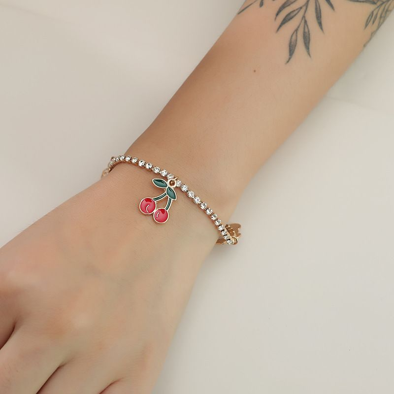 Korean fashion cherry bracelet simple and sweet cute girl heart diamond bracelet NHKQ238749