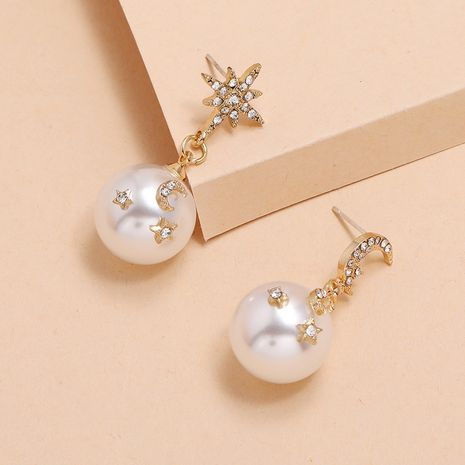 Korean fashion exquisite asymmetric pearl simple retro trend star moon short earrings nihaojewelry NHKQ238757's discount tags