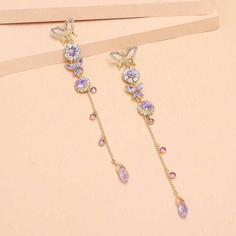 Lavender butterfly long tassel Korean fashion new exquisite earrings for women nihaojewelry NHKQ238760