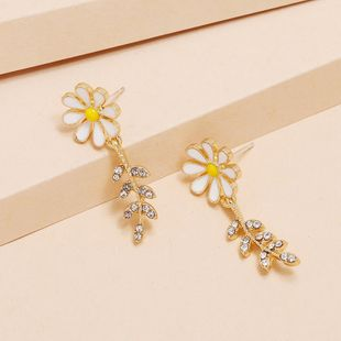 Simple and small new daisy flower Korean fashion diamond sun flower earrings NHKQ238761's discount tags