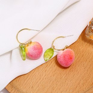 Cute sweet girl heart fruit Korean fashion new artificial peach earrings for women nihaojewelry NHKQ238765's discount tags