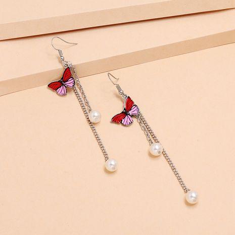 Nouveau crochet papillon mode coréenne longue mince perle gland boucles d'oreilles pour les femmes nihaojewelry NHKQ238769's discount tags
