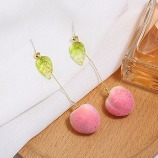 Korea new sweet and cute fruit simple peach long earrings for women nihaojewelry NHKQ238770's discount tags