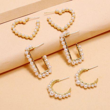 tendance créative forme géométrique ensemble boucles d'oreilles boucles d'oreilles 3 pièces en alliage de perles rétro simples NHKQ238771's discount tags
