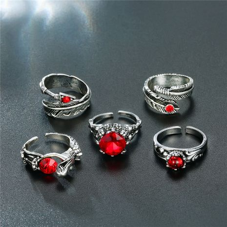 hot-selling jewelry retro Gothic men's ring ruby arrow head ring wholesale nihaojewelry NHGO238774's discount tags