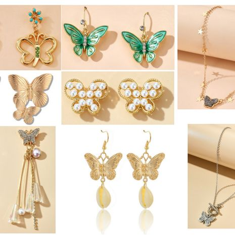 New alloy double butterfly necklace retro gold exaggerated size pearl butterfly earrings set nihaojewelry NHGY238780's discount tags