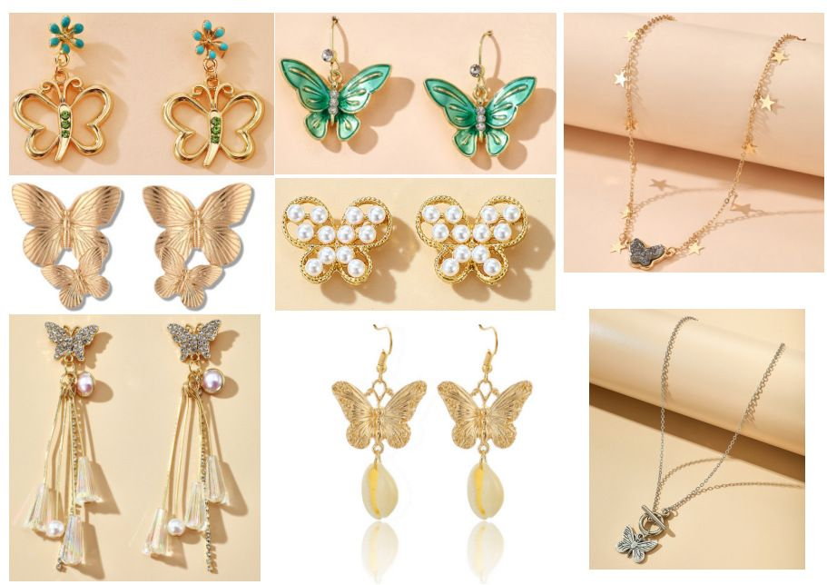 New alloy double butterfly necklace retro gold exaggerated size pearl butterfly earrings set nihaojewelry NHGY238780