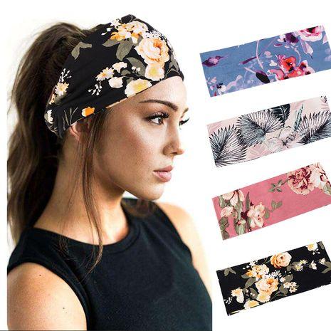 big flower cotton headband soft yoga sports elastic headband wholesale nihaojewelry NHHV238786's discount tags