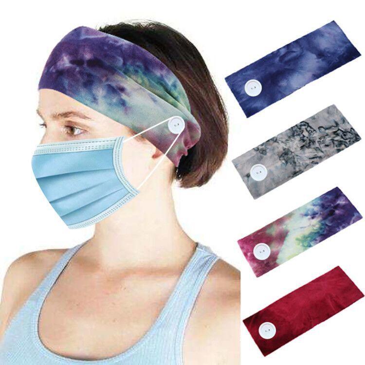 Korean tie-dyed cotton button anti-leaf soft yoga sports elastic headband wholesale nihaojewelry NHHV238790
