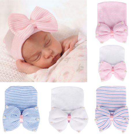 Nouveau chapeau de bébé perle grand arc bonnet en tricot chapeau de bébé chapeau de pneu mignon en gros nihaojewelry NHHV238794's discount tags