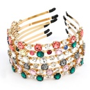Hot sale alloy  round glass full diamond trend womens hair accessories nihaojewelry NHJE238810