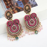 multi-layer alloy diamond-studded acrylic tassel retro bohemian ethnic earrings wholesale nihaojewelry NHJE238812