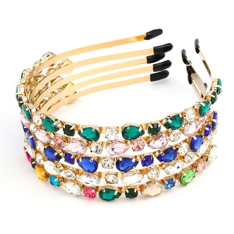 Alloy diamond-studded drop-shaped glass diamond headband  NHJE238813
