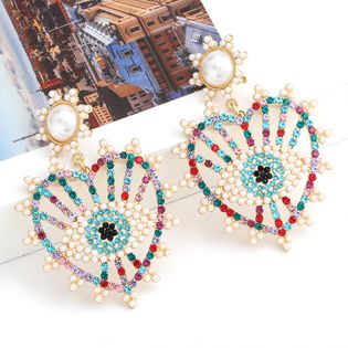 Fashion colored diamond series alloy diamond inlaid pearl love heart-shaped eye earrings wholesale nihaojewelry NHJE238814