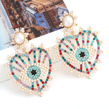 Fashion colored diamond series alloy diamond inlaid pearl love heart-shaped eye earrings wholesale nihaojewelry NHJE238814's discount tags