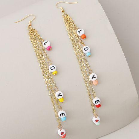long tassel woven LOVE letter earrings for women creative beaded earrings jewelry NHLA238848's discount tags