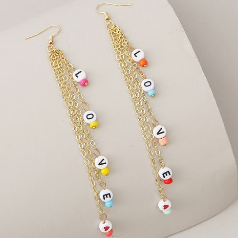 long tassel woven LOVE letter earrings for women creative beaded earrings jewelry NHLA238848's discount tags