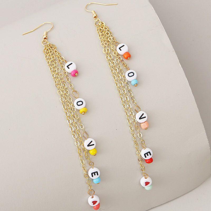 long tassel woven LOVE letter earrings for women creative beaded earrings jewelry NHLA238848