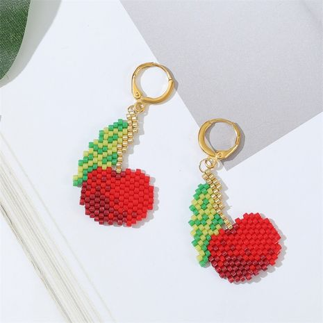 Korean cute  handmade rice beads earrings creative woven copper earrings wholesale nihaojewelry NHLA238849's discount tags