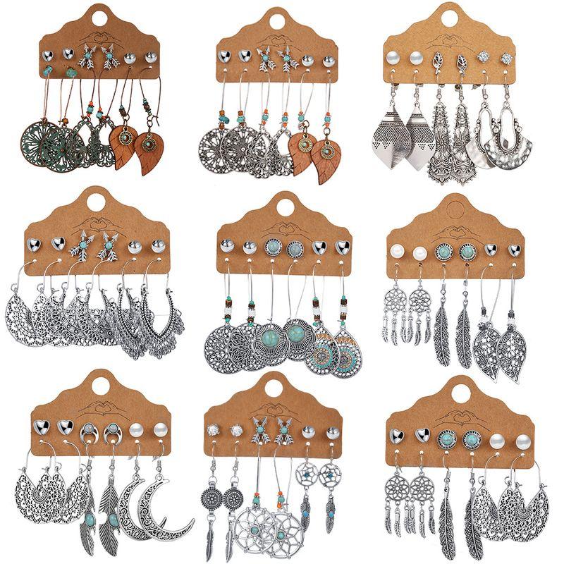 Love Hollow Semicircle Earrings 6 Pairs Set Creative Leaf Feather Retro Earrings wholesale nihaojewelry NHPJ238852