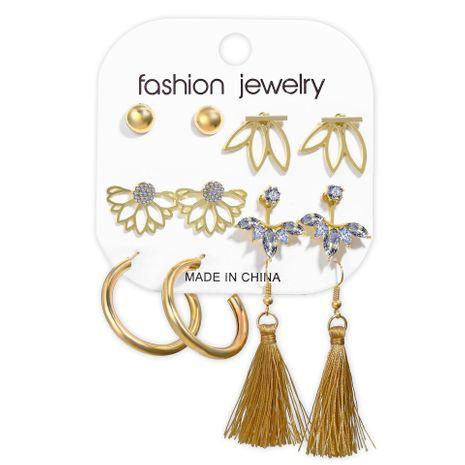 Vente chaude style incrusté de strass gland boucle d'oreille ensemble 6 paires de boucles d'oreilles rétro créatives en gros nihaojewelry NHPJ238853's discount tags