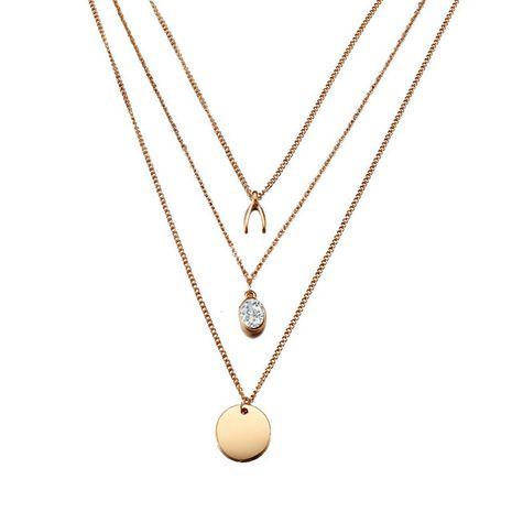 Nouveau collier multicouche en forme de V inversé en zircon colliers en alliage rétro chaîne de la clavicule nihaojewelry NHPJ238854's discount tags