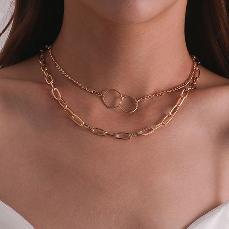 New fashion multi-layer retro simple alloy metal clavicle chain necklaces nihaojewelry NHPJ238857's discount tags