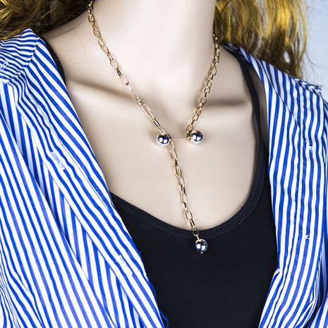 collier de perles à double boule simple en métal de mode en gros nihaojewelry NHSC239210's discount tags
