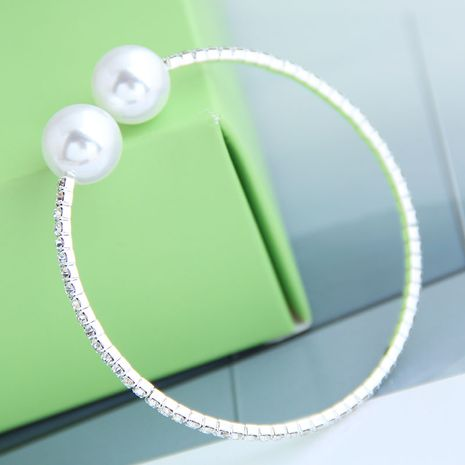 Korean fashion metal flash diamond sweet and elegant pearl open bracelet wholesale nihaojewelry NHSC239206's discount tags
