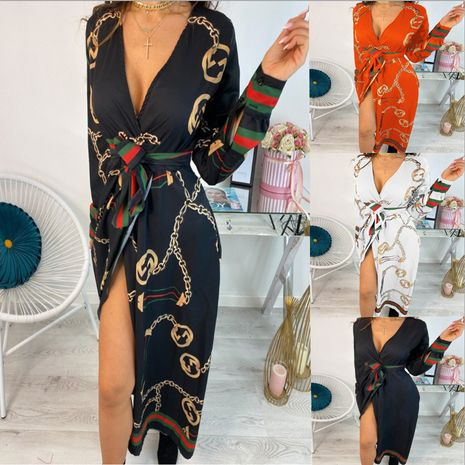 Autumn new fashion sexy V-neck print tie waist dress for women wholesale nihaojewelry NHYF238995's discount tags