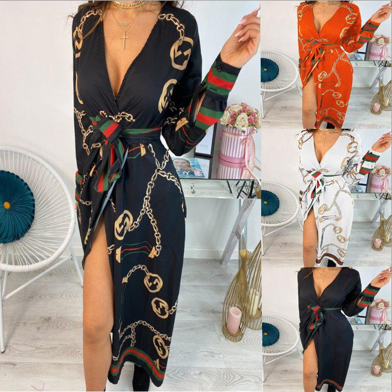 Autumn new fashion sexy Vneck print tie waist dress for women wholesale nihaojewelry NHYF238995