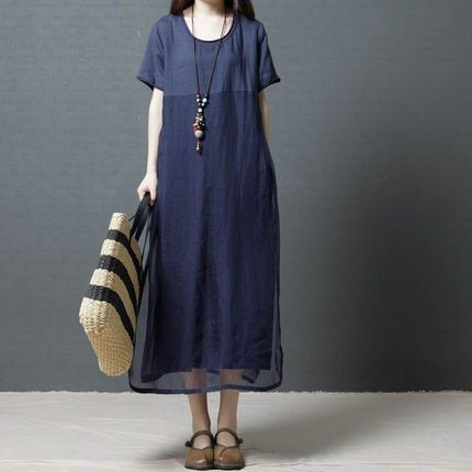 Summer new Korean version loose plus size women's fashion and comfortable round neck ramie dress for women NHYF238998