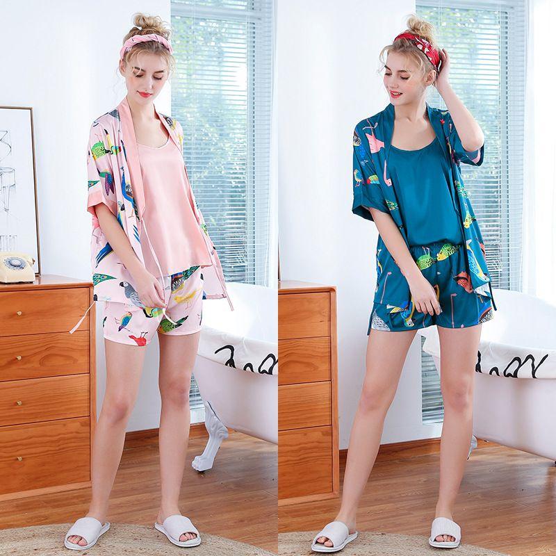 Summer suspender shorts robe three-piece home service silk pajamas ladies wholesale  NHJO239036