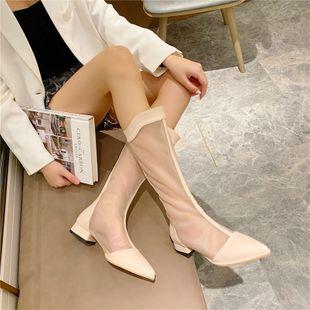 Long net boots women's summer pointed toe flat hollow sandals mesh autumn single boots summer mesh Roman long boots NHCA239067's discount tags
