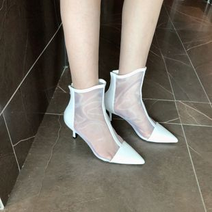 Women's winter new patent leather pointed high heel stiletto boots side zipper Martin boots fashion nude boots nihaojewelry NHCA239082's discount tags