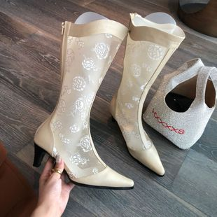 Sexy printed lace mesh hollow fashion women summer breathable pointed toe stiletto heel high boots nihaojewelry NHCA239083's discount tags