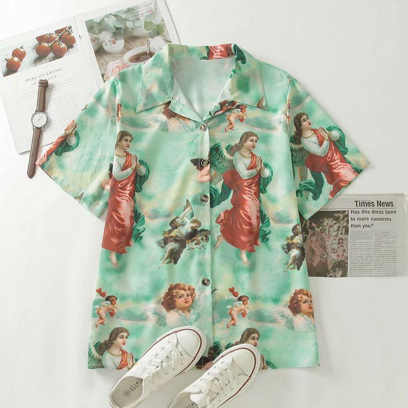 summer Virgin Angel print short sleeve blouse wholesale nihaojewelry NHAM239137
