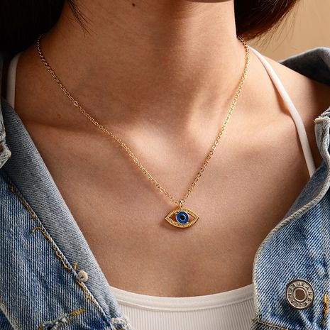 new fashion gold-plated devil's eye necklace ladies street punk style necklace wholesale nihaojewelry NHOT239196's discount tags