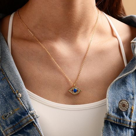 new fashion gold-plated devil's eye necklace ladies street punk style necklace wholesale nihaojewelry NHOT239195's discount tags