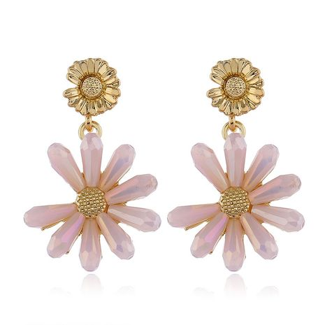 925 Silver Post High Quality Fashion Metal Crystal Daisy Stud Earrings  wholesale nihaojewelry NHSC231824's discount tags